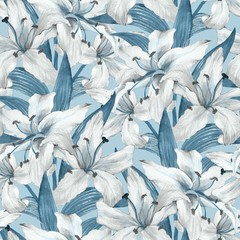 Pattern with lilies 5. Floral seamless watercolor background with white flowers.