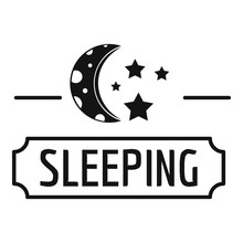 Sleeping Moon Logo, Simple Black Style