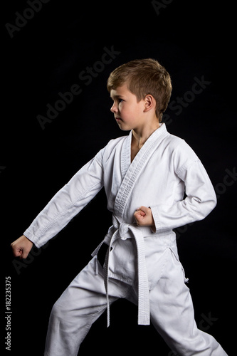 Fotografía  Down fist hit, pose in karate