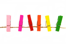 Colorful Wooden Clothespin Isolated