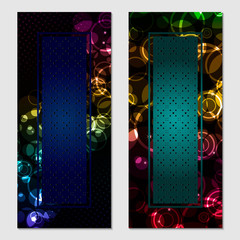 Vertical gift glitter, festive design background. Postcard for a Merry New Year and Merry Christmas. For a banner, flyer, label, certificate, company card. Vector. Colorful.