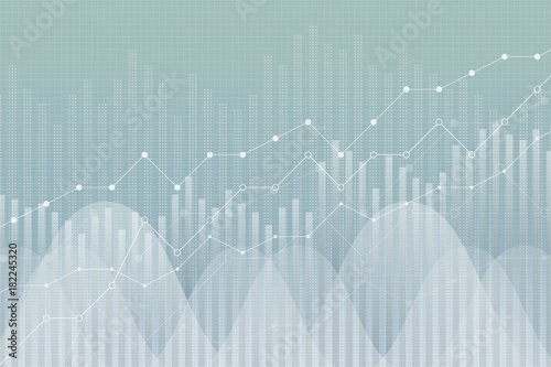 Fotomural Financial growth, revenue graph, vector illustration