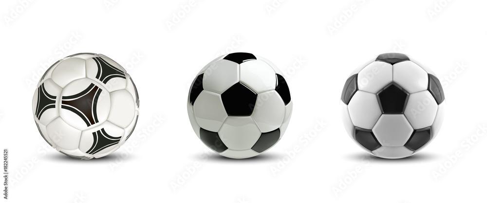 Fototapety, obrazy: Vector soccer ball set. Tree Realistic soccer balls or football balls on white background