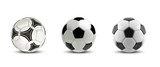Fototapeta Sport - Vector soccer ball set. Tree Realistic soccer balls or football balls on white background