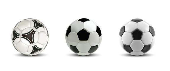 Vektorska nogometna lopta postavljena. Drvo Realistične nogometne lopte ili nogometne lopte na bijeloj pozadini