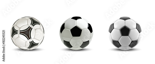 Spoed Foto op Canvas Bol Vector soccer ball set. Tree Realistic soccer balls or football balls on white background