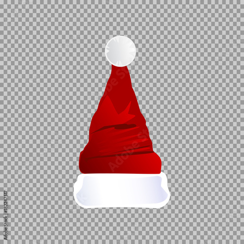 Transparent Christmas Hat.Eps 10 Vector Red Santa Hat Isolated On Transparent