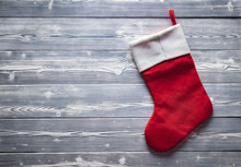 Santa Red Sock Isolated On Grey
