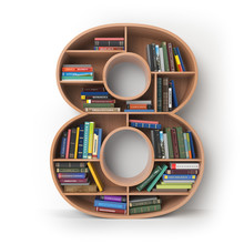 Number 8 Eight. Alphabet In The Form Of Shelves With Books Isolated On White.