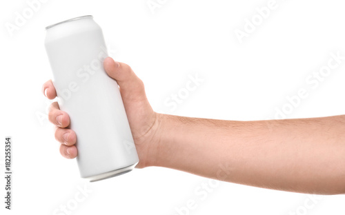 Man holding aluminum can on white background