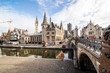 canvas print picture - GHENT, BELGIUM - November, 2017: Architecture of Ghent city center. Ghent is medieval city and point of tourist destination in Belgium.