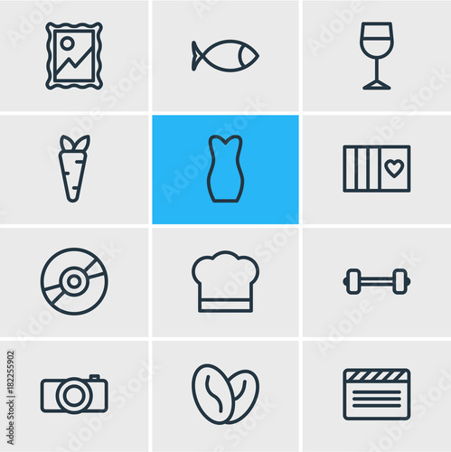 Vector Illustration Of 12 Lifestyle Outline Icons Poster