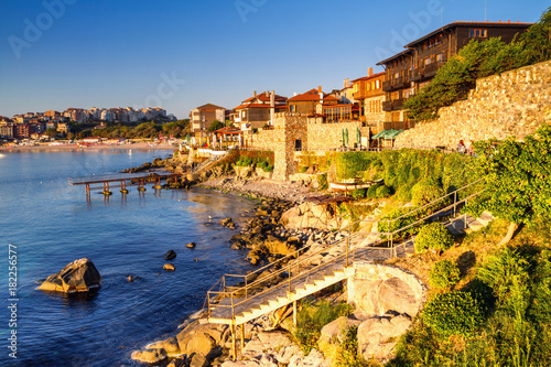 Foto auf Gartenposter Stadt am Wasser Seaside landscape - embankment with fortress wall in the city of Sozopol on the Black Sea coast in Bulgaria