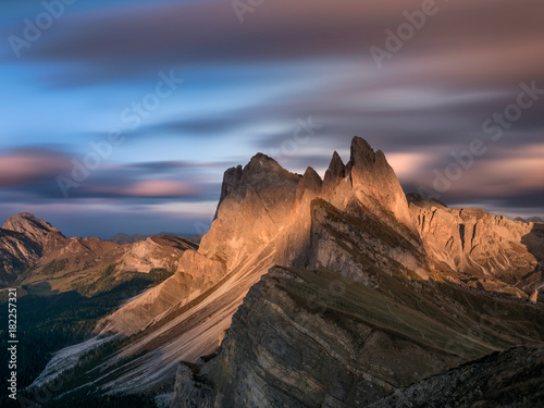 long exposure sunset sky on seceda south tyrol with view on iconic peaks Poster