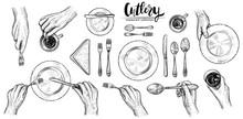 Hands With Cutlery, Vector Lin...