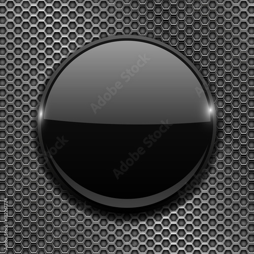 Fotografía  Black 3d button on metal perforated background
