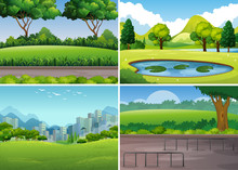 Four Park Scenes With Trees An...