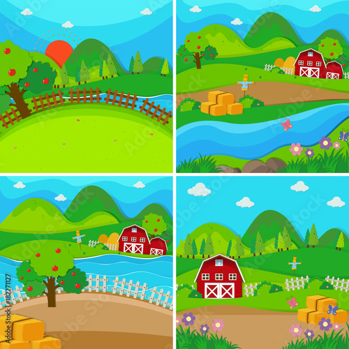 Spoed Foto op Canvas Turkoois Four farm scenes with barns and apple trees