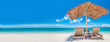 Leinwandbild Motiv Chaise lounges on beach
