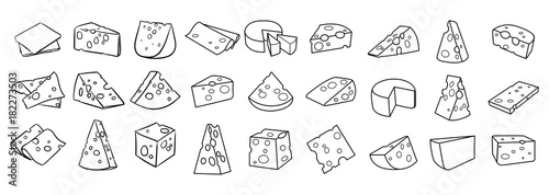 Fototapeta Cheese isolated on a white background, Hand drawn cheese outline vector illustration. Cheese sketch, doodle collection, Set of cheese icons obraz