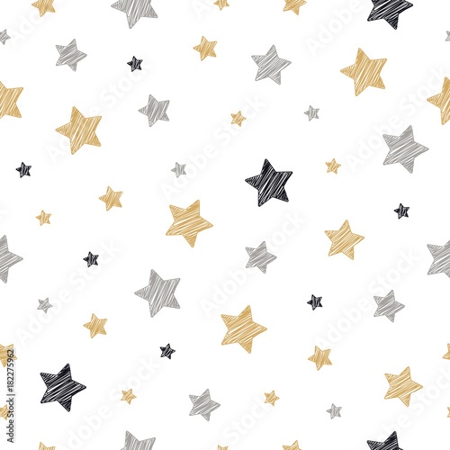 Cotton fabric christmas stars seamless pattern scribble drawing white isolated background