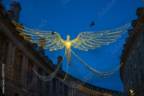 Photo  Christmas decorations on Regent Street in Central London, UK
