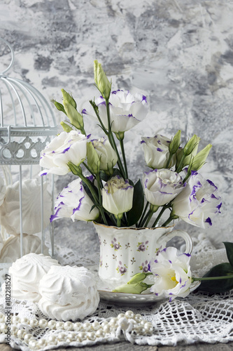 Photo marshmallow, cage, cup, dessert, romance, tenderness, love, postcard, closeup, a