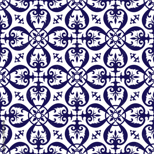 Foto  Delft dutch tile pattern vector with blue and white ornaments