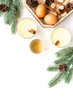 Make eggnog classic recipe. Eggs, milk, cinnamon, whiskey on white background top view copyspace