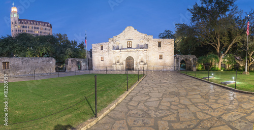 Panorama view the Alamo Mission in San Antonio at blue hour Wallpaper Mural