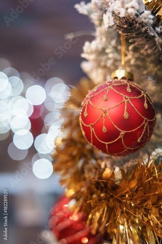 Christmas tree with red ball and bokeh christmas lights Wallpaper Mural