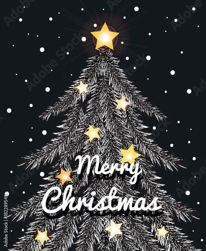 Christmas Day Drawing Images.Christmas Tree And Star Drawing Illustration For Merry