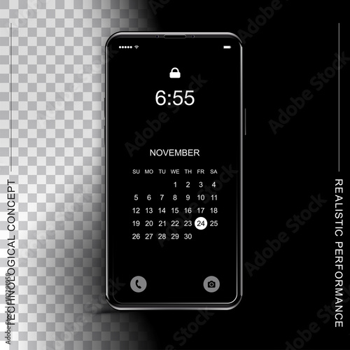 template realistic black smartphone with a screen lock on a dark and