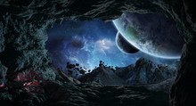 Astronauts Exploring A Cave In...