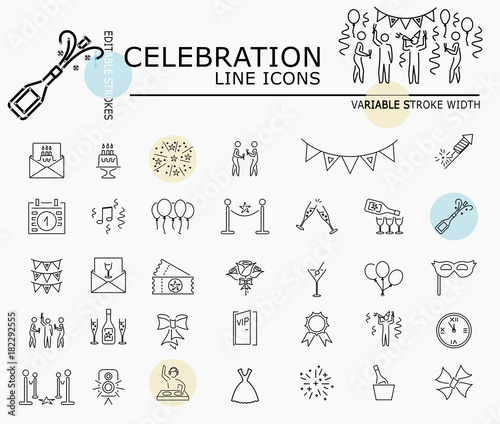 Fotografie, Tablou Celebration line icons with minimal nodes and editable stroke width and style