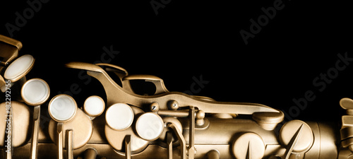 Saxophone jazz instrument sax isolated on black background Canvas Print
