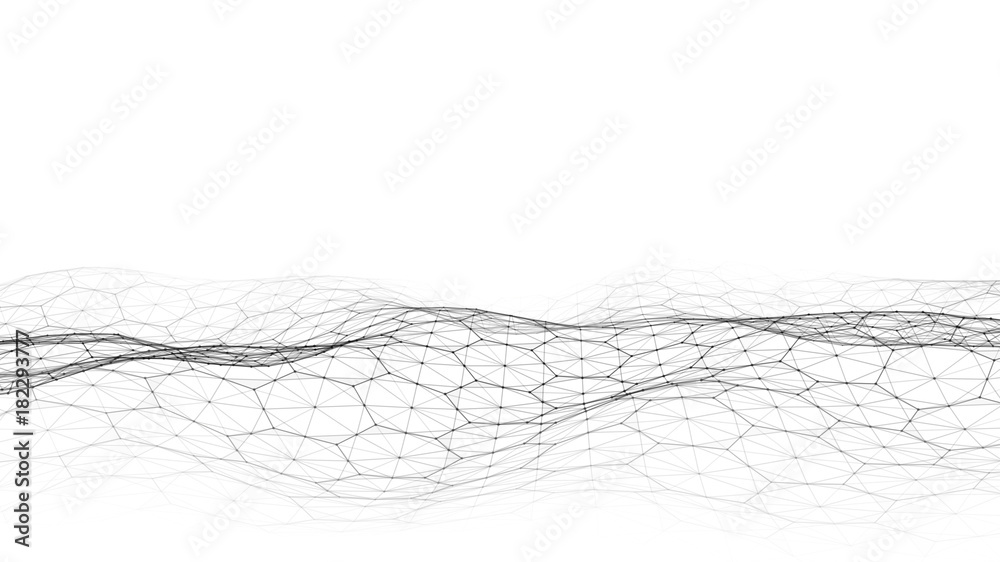 Fototapety, obrazy: Vector white abstract futuristic digital landscape with particles dots and stars on horizon. computer geometric digital connection structure. Futuristic blue abstract grid. Intelligence artificial