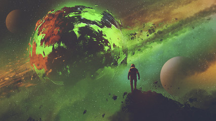 Fototapeta sci-fi concept of an astronaut standing on huge rock looking at the acid planet, digital art style, illustration painting