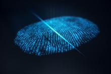 3D Illustration Fingerprint Scan Provides Security Access With Biometrics Identification. Concept Fingerprint Protection.
