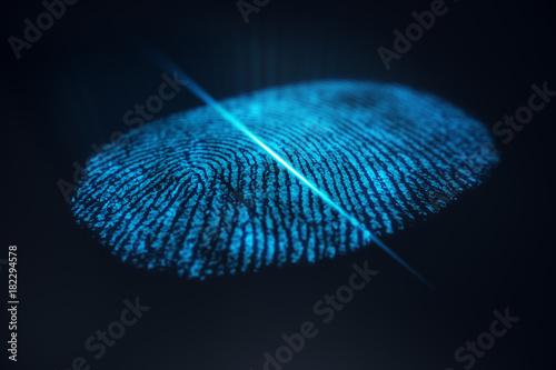 Photo 3D illustration Fingerprint scan provides security access with biometrics identification