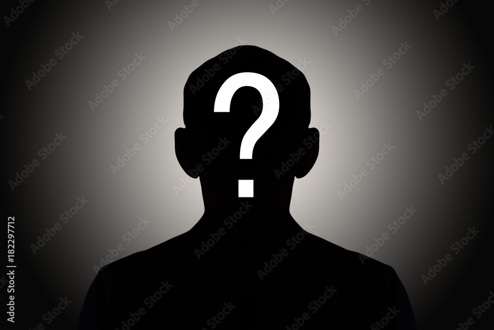 Fototapeta silhouette male on gradient background with white question mark