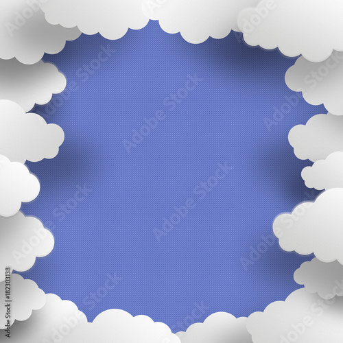 Poster Ciel Illustration of clouds in gray gradient