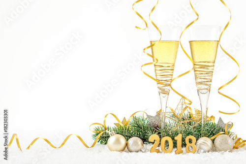New Year Celebration with Champagne Glasses 2018 Poster