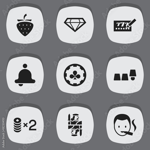 Set Of 9 Editable Casino Icons Poster