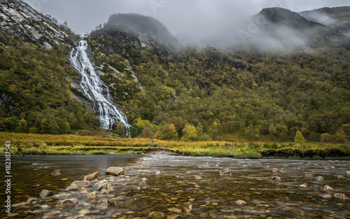 Steall Falls in Glen Nevis, Scotland Wallpaper Mural