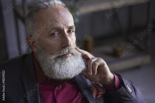 Obraz na plátně  Portrait of calm bearded retire locating in living room