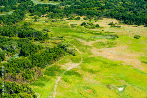 Poster Lime groen Fields and meadows. Aerial view. Landscape.