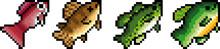 Set Of Pixel Fish