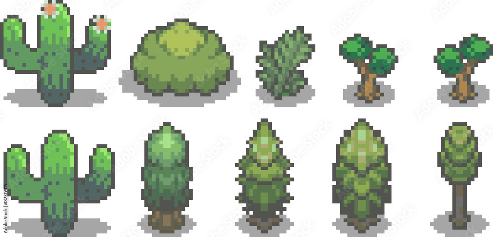 Fototapeta Set of trees in pixel style