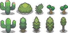 Set Of Trees In Pixel Style